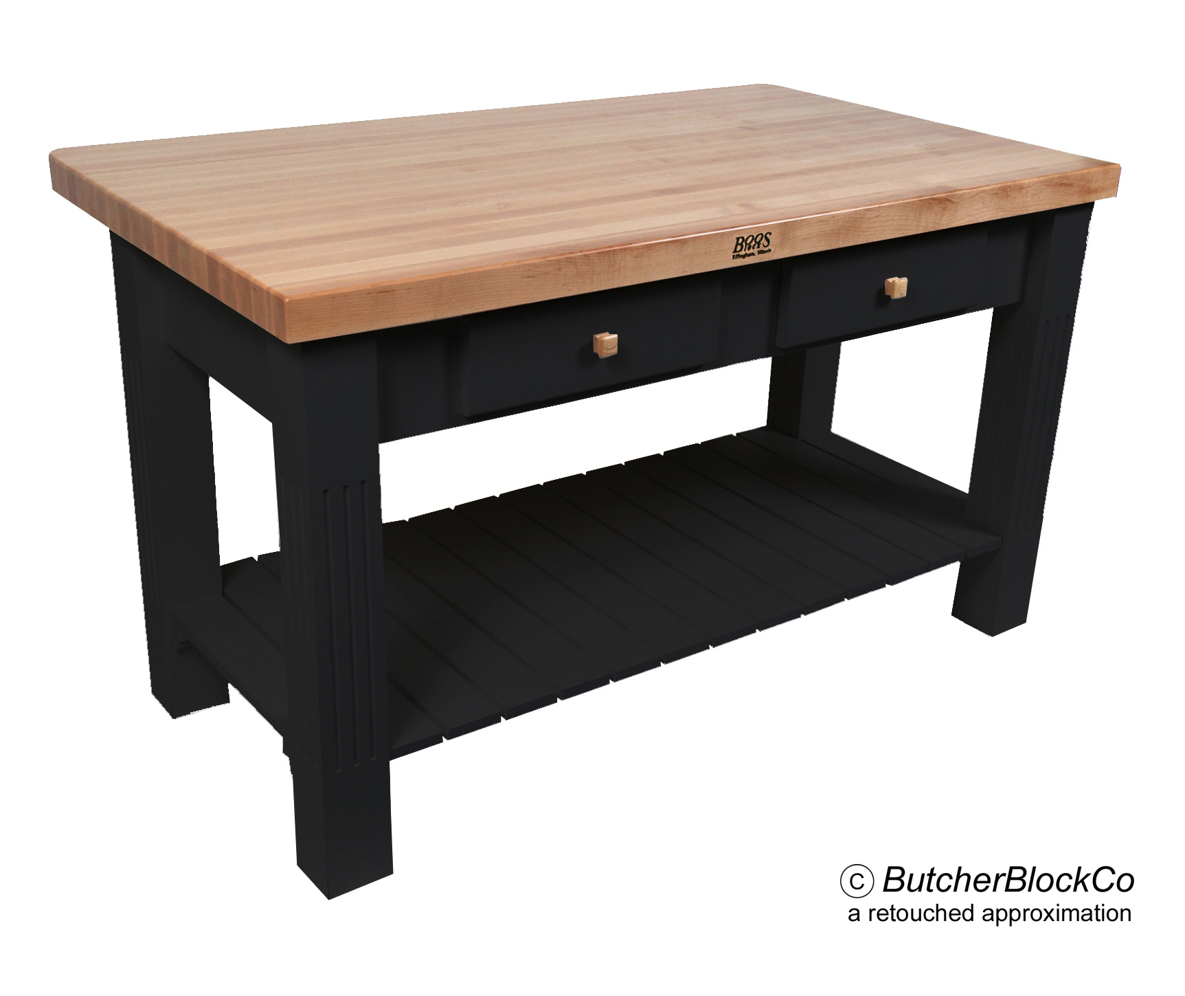 Maple Grazzi Butcher Block Table with Drop Leaf-Black