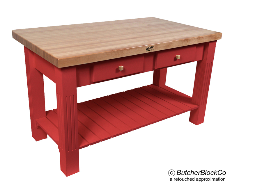 Maple Grazzi Butcher Block Table with Drop Leaf - Barn Red