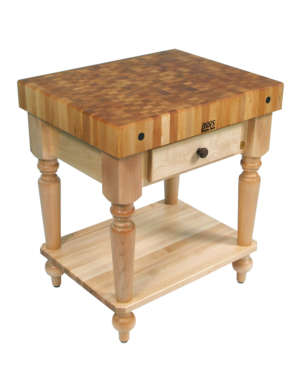 square butcher block table with solid shelf