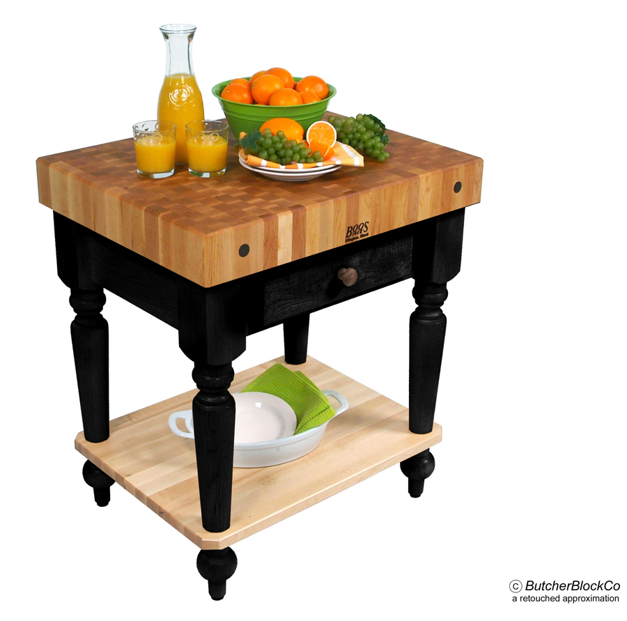 Rustica Butcher Block Black Base with Solid Maple Shelf