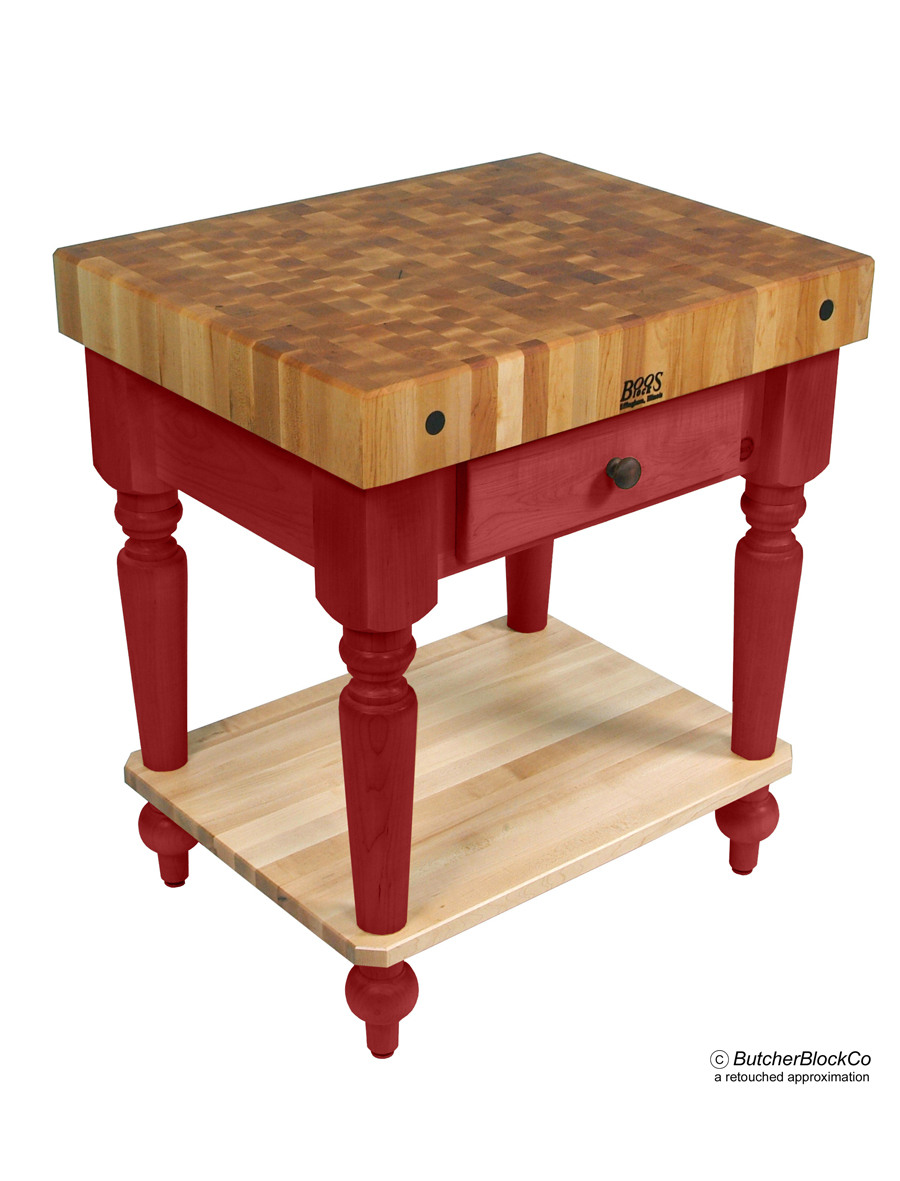 John Boos Maple Rustica Butcher Block Barn Red Base with Solid Maple Shelf