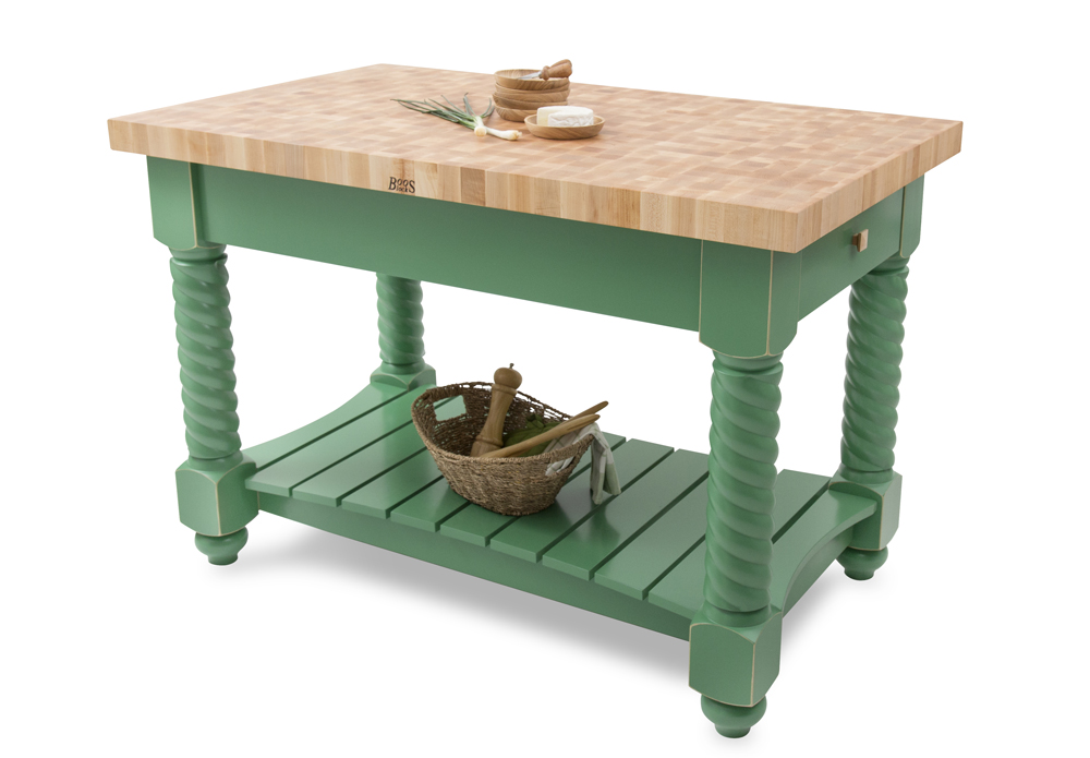 Boos maple tuscan isle kitchen island green base