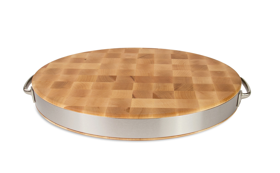 Boos oval chopping block with stainless steel band and handles
