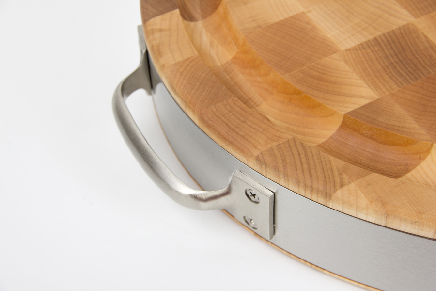 stainless steel handles and band on maple oval chopping block