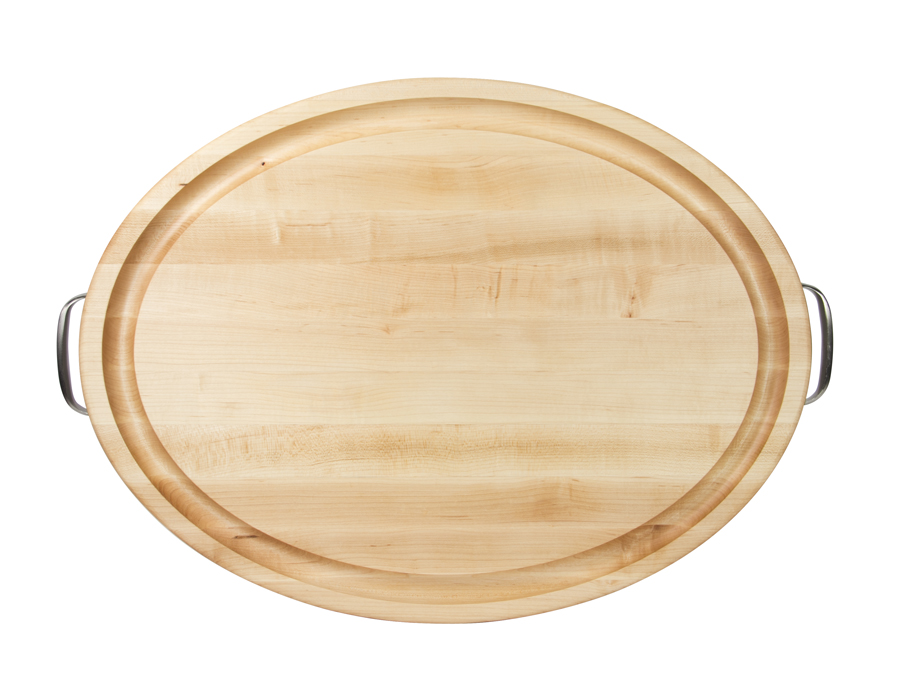 Oval cutting board with juice groove and steel handles