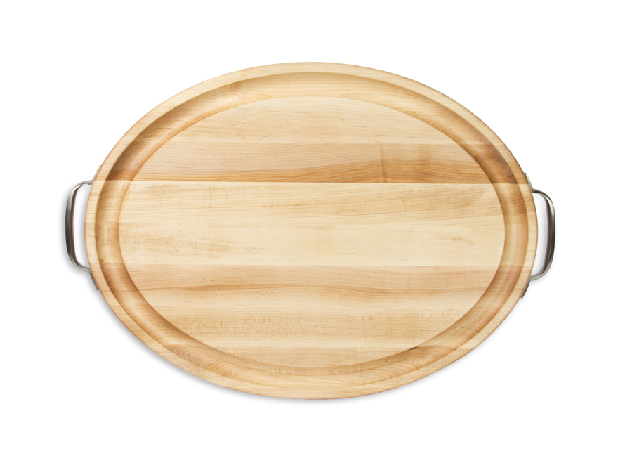 Boos oval cutting board with stainless steel handles