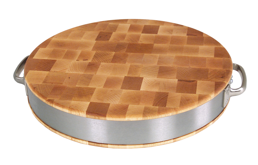end-grain maple Boos bread board with steel handles