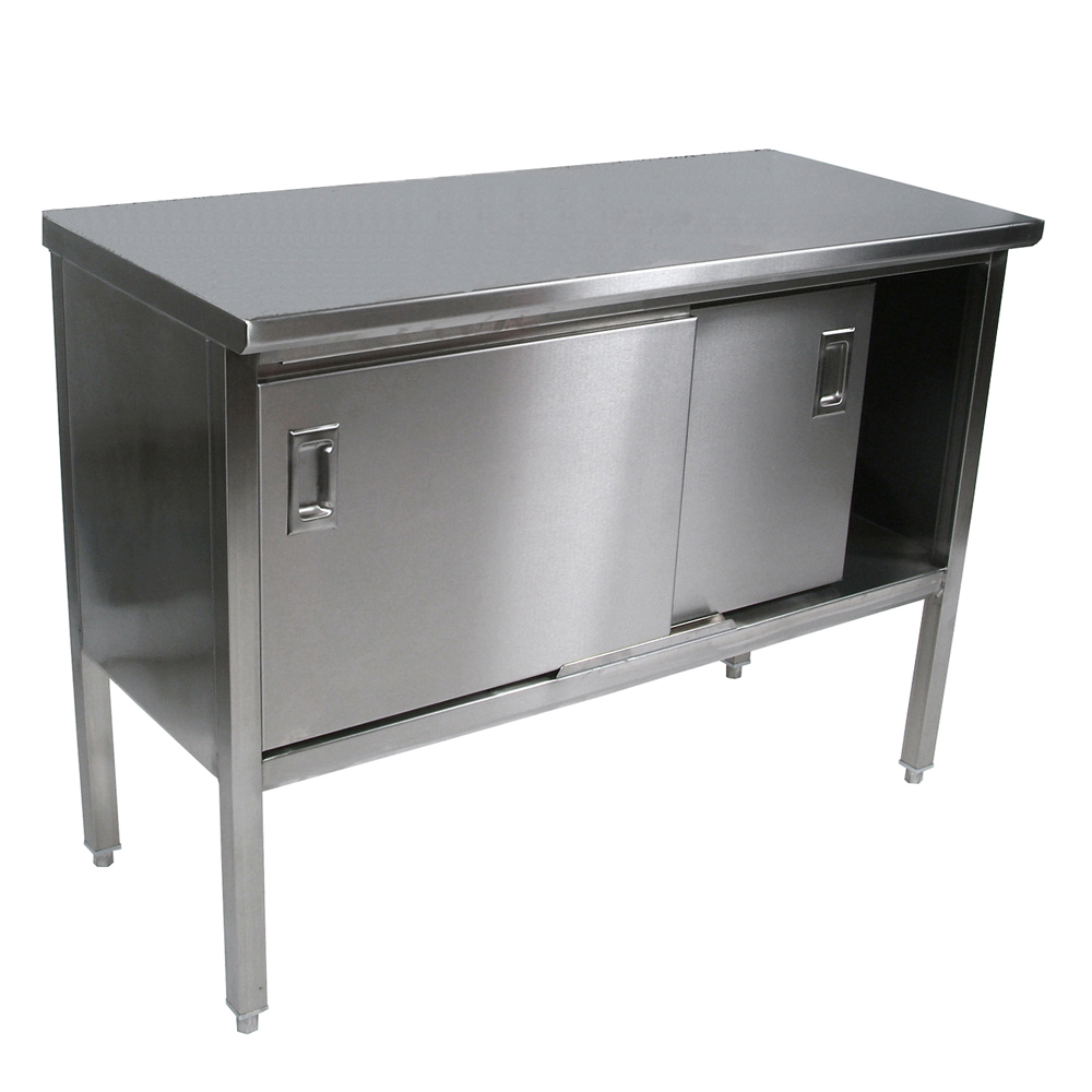 John boos stainless steel enclosed base work table boos stainless steel enclosed base cabinet w sliders 14 gauge ss top workwithnaturefo