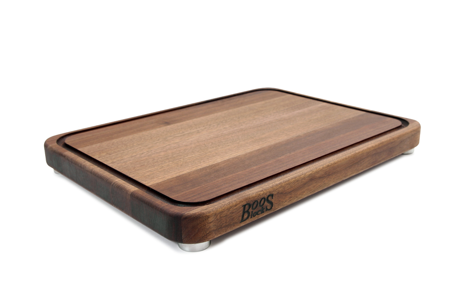 Boos Walnut Tenmoku Board - Steel Feet, Juice Groove - 20x15, 24x18