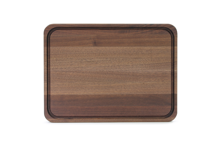 John Boos walnut tenmoku cutting board with juice groove and stainless steel feet