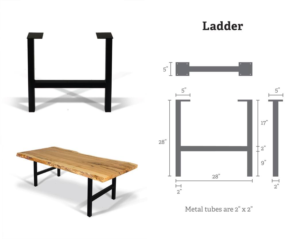 Ladder Metal Table Bases (Pair) for Wood Slab, Butcher Block, Plank Tops