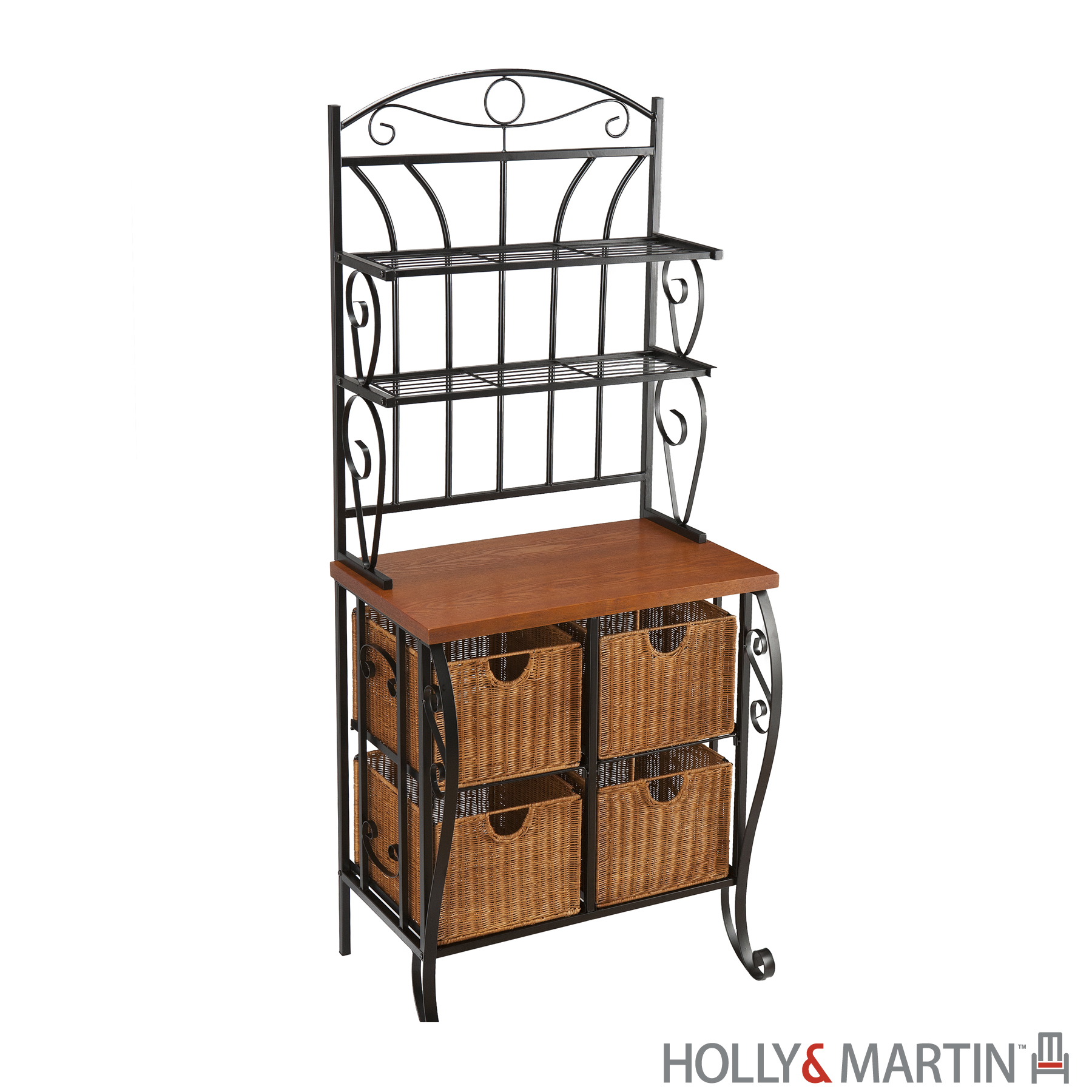 Holly & Martin's Lillian Iron Baker's Rack with Rattan Basket Drawers - 20