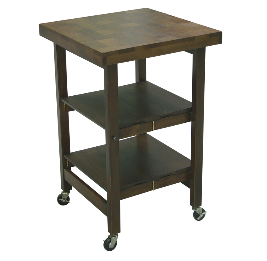 Oasis Concepts Walnut-Finish 3-Tier Folding Cart – 24