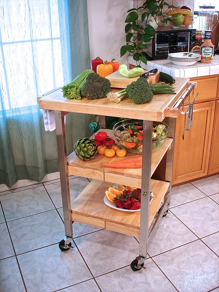 Oasis Concepts Folding Barbecue Island Wine Cart w/ Handle Bar - 24