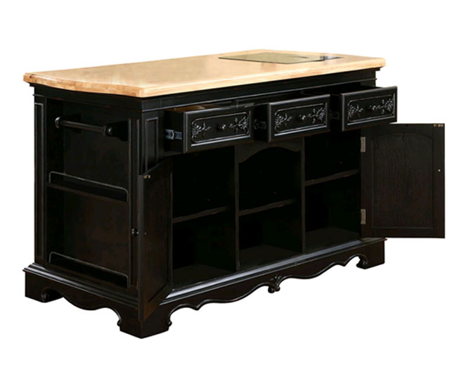 Powell Kitchen Island with storage cabinets and drawers