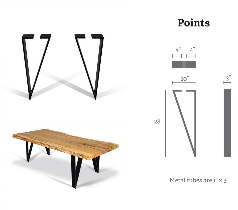 Points (4) Metal Table Bases for Wood Slab, Butcher Block, Plank Tops