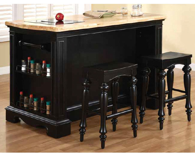 Powell Pennfield Kitchen Island – Wood Top, Black Granite Inlay, 56