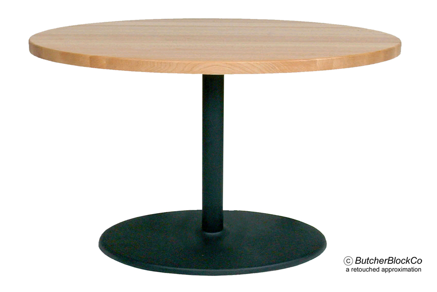 Round Maple Butcher Block Cafe Table, Black Pedestal U0026 Disc Base