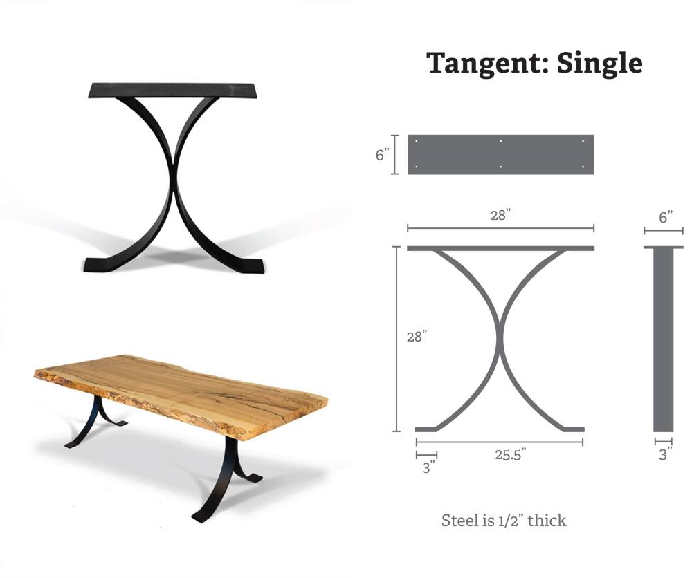 Single Tangent Metal Table Bases (Pair) for Wood Slab, Butcher Block, Plank Tops