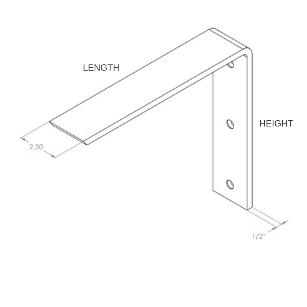 Standard Front-Mount L-Bracket Supports for Countertop Overhangs