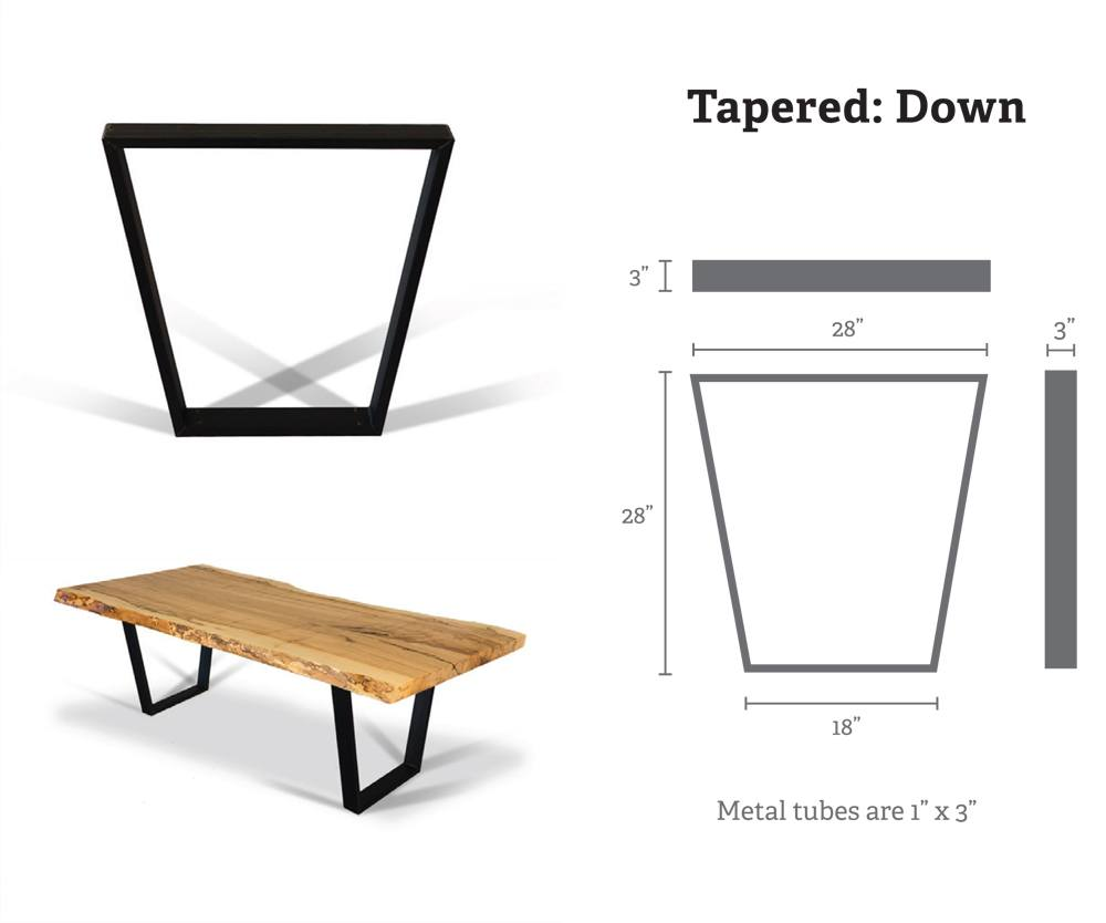 Taper Down Metal Table Bases (Pair) for Wood Slab, Butcher Block, Plank Tops
