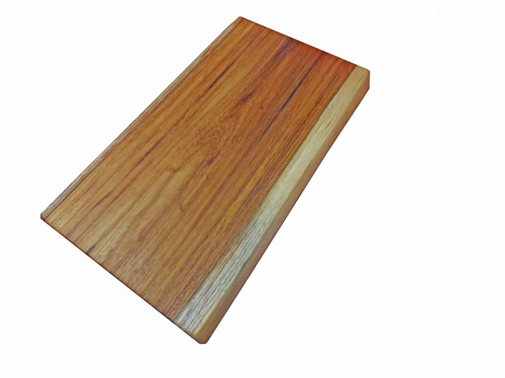 Teak Cutting Board with a Two-Tone Live-Edge Look - 12
