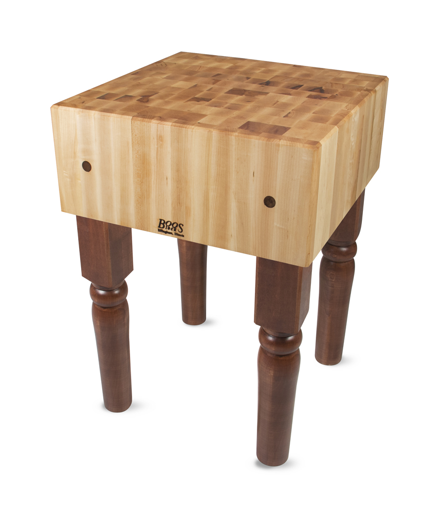 Thick Butcher Block on stained legs