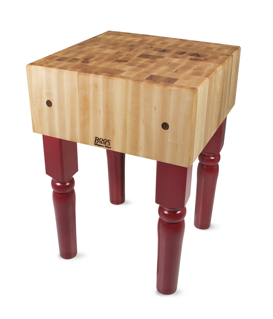 Barn Red Legs On Stationary Butcher Block