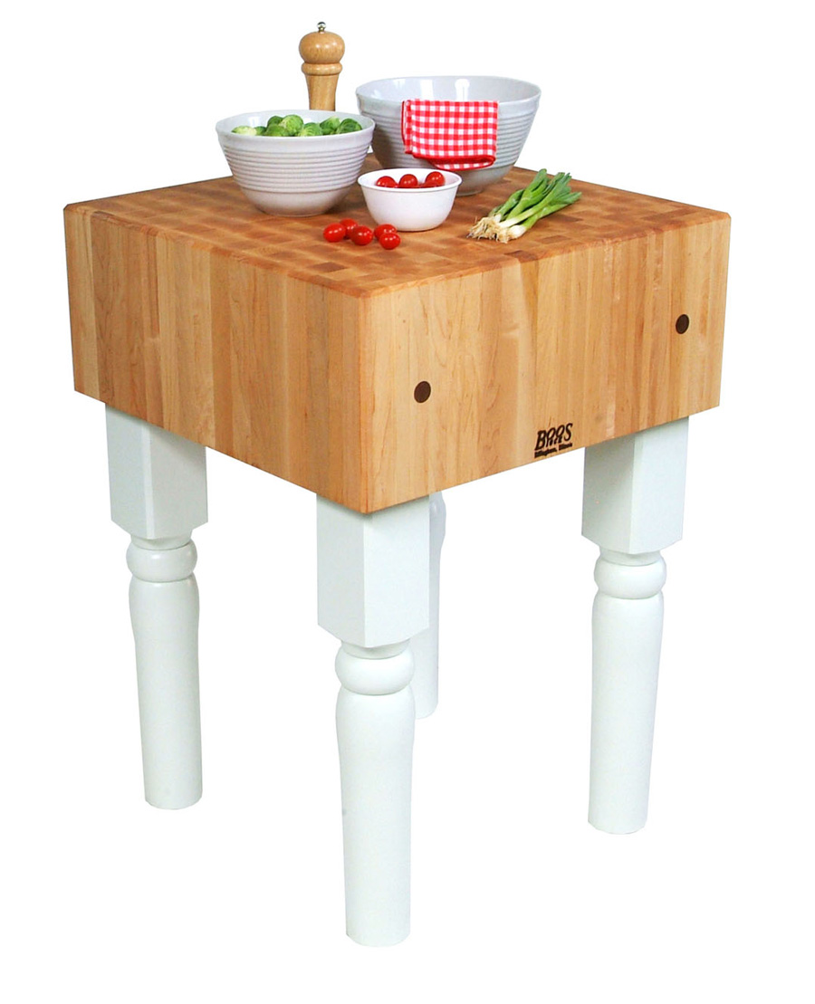 10 in. butcher block on white legs