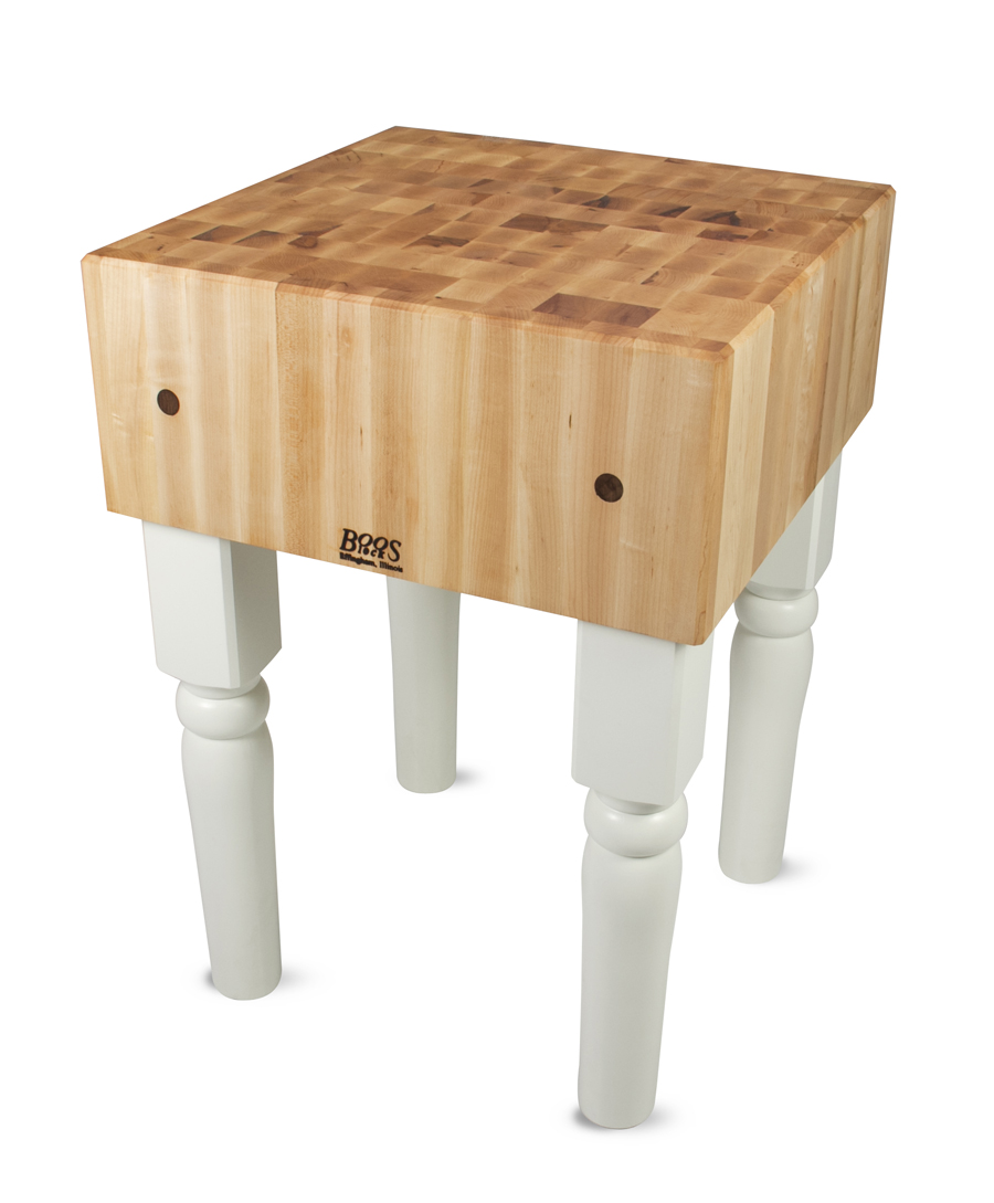 Butcher Block on White Legs