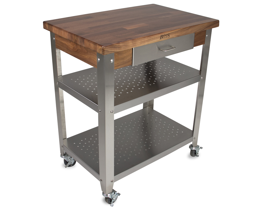 John Boos Walnut Cucina Elegante Kitchen Cart WAL-CUCE30