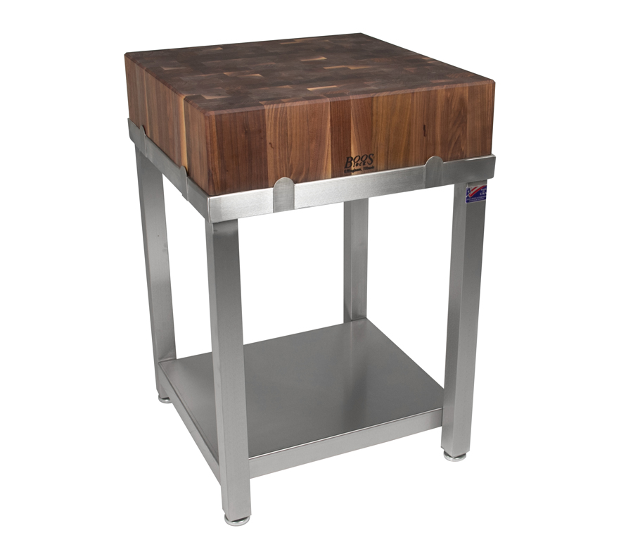 John Boos Cucina Laforza Walnut Butcher Block and Stainless Steel Frame WAL-CUCLA24T