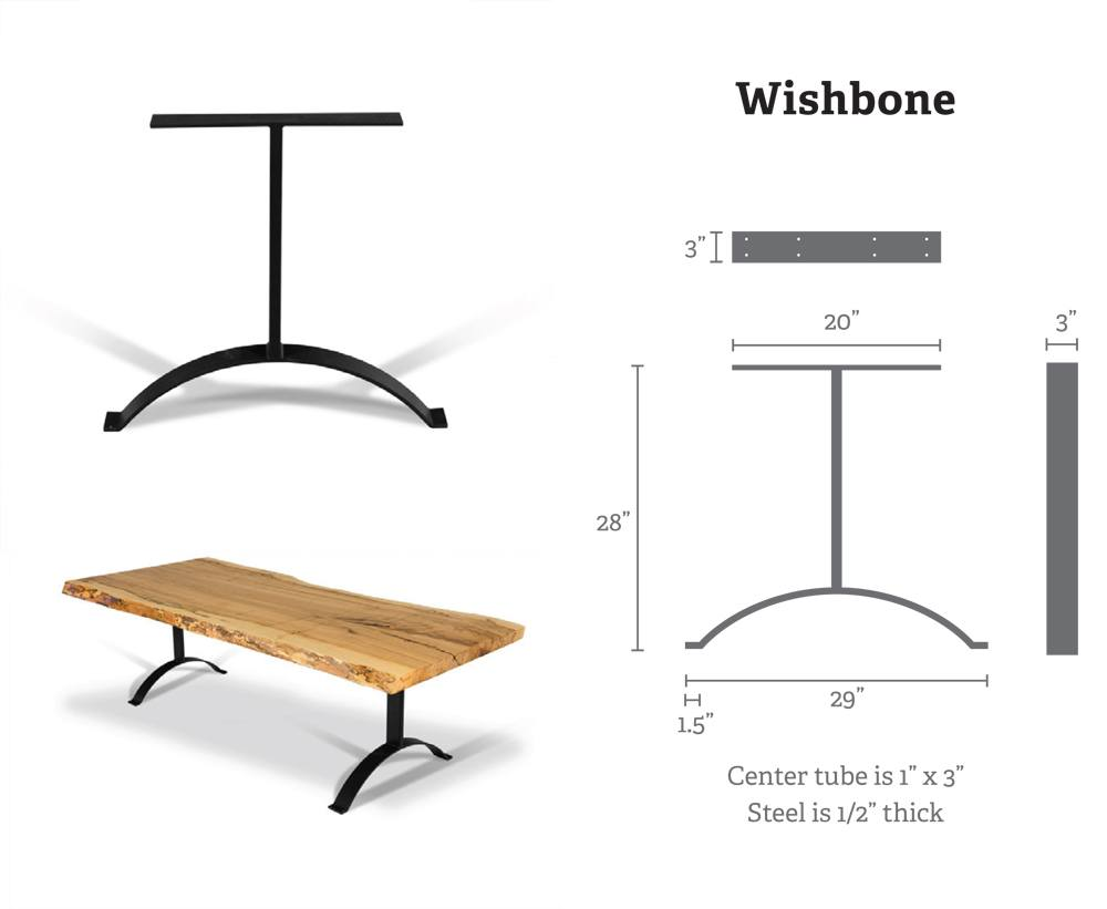 Wishbone Metal Table Bases (Pair) for Wood Slab, Butcher Block, Plank Tops